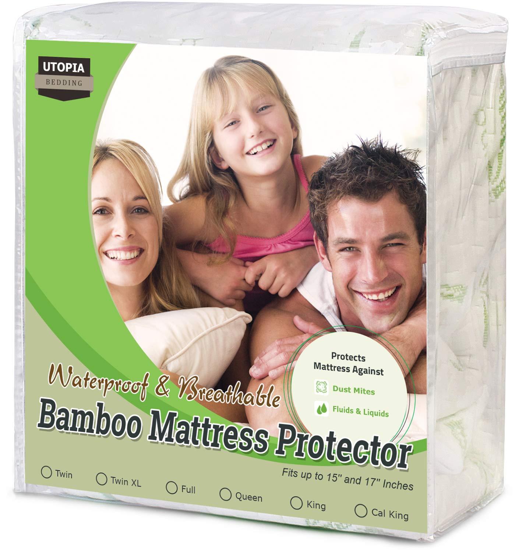 Utopia Bedding Waterproof Bamboo Organic Mattress Protector